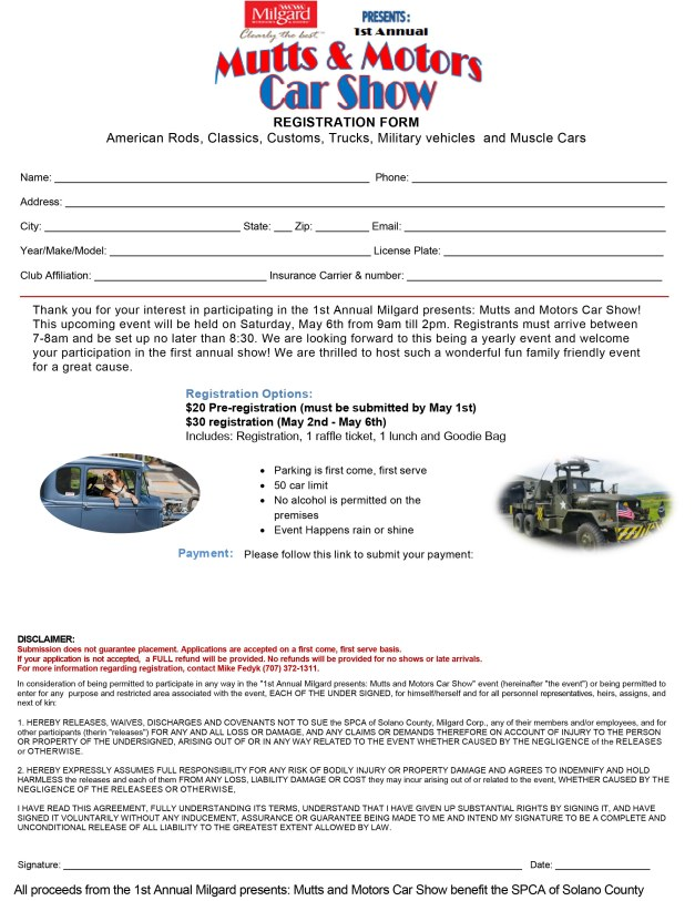 2017 spca car show entry form spca of solano county entries can be printed out completed and sent with payment to spca of solano county po box 356 vacaville ca 95696 or entries can be emailed to thecheapjerseys Image collections